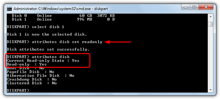 атрибут diskpart только для чтения