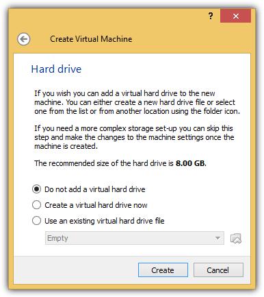 не добавлять виртуальный жесткий диск