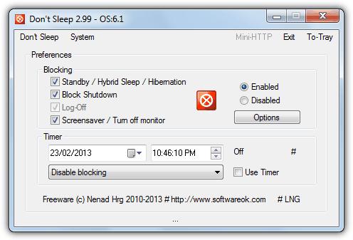 """noise """"src ="""" https://img.raymond.cc/blog/wp-content/uploads/2011/04/noise.png """"/></p> <p>Запустите инструмент и дважды щелкните значок на панели задач, чтобы открыть миниатюрное диалоговое окно, а затем введите ключ, который программа будет отправлять раз в минуту. Можно использовать буквы и цифры в сочетании с клавишей Shift, а не Ctrl или Alt и т. Д.</p> <p><strong>Скачать шум</strong></p> <p>5. <strong>Не спи</strong></p> <p>«Не спать» – это небольшой, простой и в то же время мощный инструмент, способный предотвратить отключение системы, режим ожидания, спящий режим, выход из системы, а также отключить заставку или монитор. Каждая опция «Не спать» очень проста, и если вы хотите, например, предотвратить переход компьютера в режим ожидания, просто убедитесь, что установлен флажок «Ожидание», и нажмите кнопку «Включено».</p> <p><img width="""