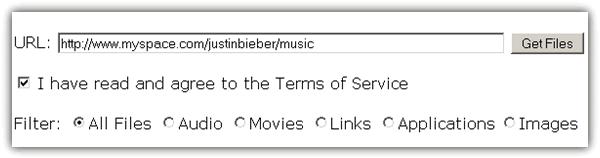 Скачать mp3 Джастина Бибера в MySpace