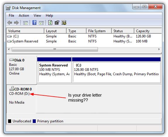 в управлении дисками отсутствует буква драйвера