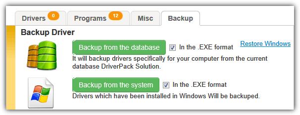 вкладка резервного копирования решения DriverPack