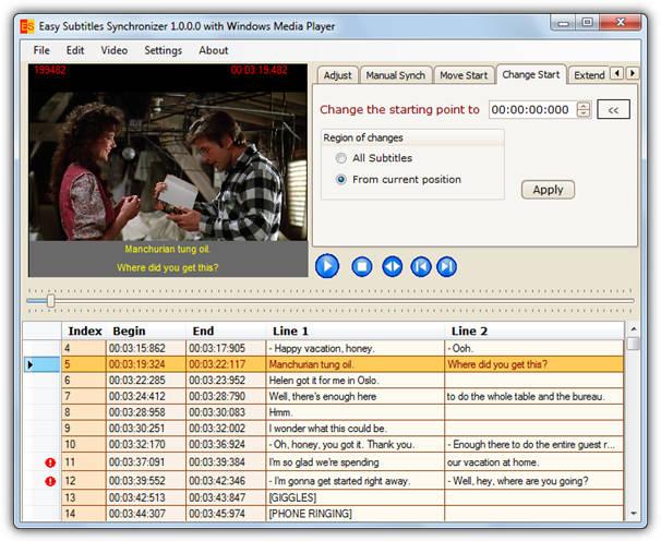 """SubtitlesSynch """"src ="""" https://img.raymond.cc/blog/wp-content/uploads/2008/01/SubtitlesSynch.png """"/></p> <p>Он автоматически открывается с предыдущим выбранным файлом субтитров и имеет возможность синхронизации только для определенного временного интервала (хорошо для рекламных пауз). Сам интерфейс программы говорит сам за себя. Загрузите файл субтитров. Если субтитры медленнее, чем говорит персонаж фильма, вам нужно выбрать «Добавить время» и установить смещение времени в секундах и миллисекундах, минуты и часы, вероятно, не потребуются. Если субтитры слишком быстрые, выберите «Уменьшить время», чтобы замедлить субтитры.</p> <p><strong>Скачать SubtitlesSynch</strong></p> <p>2. <strong>Easy Subtitles Synchronizer</strong></p> <p>Это гораздо более продвинутая утилита, которая также содержит несколько опций для восстановления, синхронизации и настройки файлов субтитров. Easy Subtitles Synchronizer также позволяет вставлять и редактировать отдельные строки текста субтитров. Это может быть достигнуто с помощью опции загрузки видеофайла, для которого предназначен субтитр, чтобы можно было сравнить строки с видео, не выходя из программы.</p> <p><img width="""