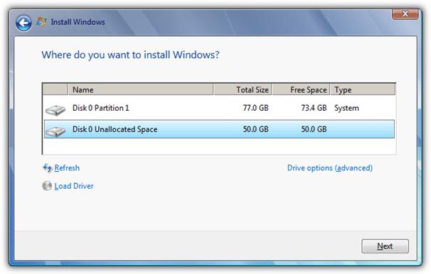 Где вы хотите установить Windows