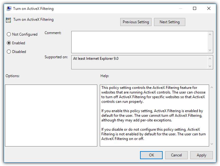 включить групповую политику фильтрации ActiveX