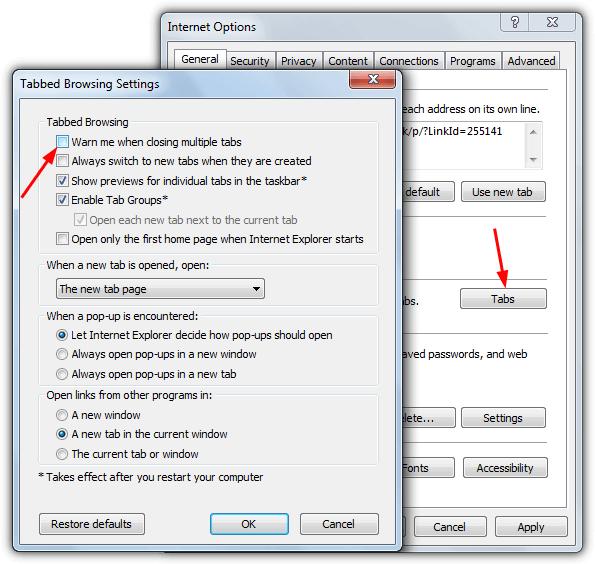 предупреждение о включенных вкладках Internet Explorer