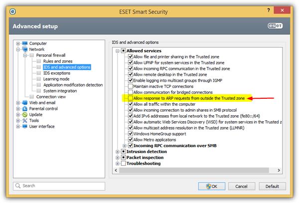 eset разрешает ответ на запрос arp за пределами доверенной зоны
