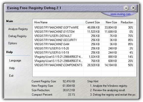 Использование бесплатной дефрагментации реестра