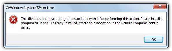 С этим файлом не связана программа