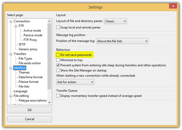 FileZilla не сохранять пароли