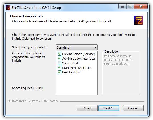 Стандартная установка FileZilla Server