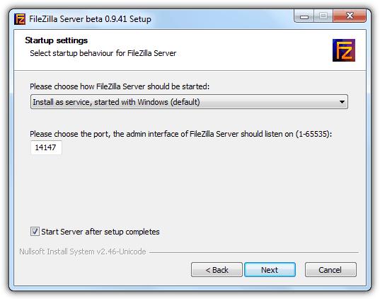 Метод запуска сервера FileZilla