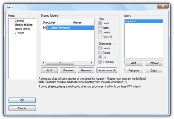Общие папки FileZilla