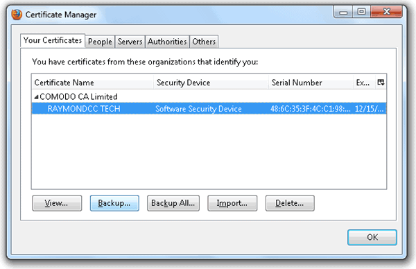 Диспетчер сертификатов Firefox