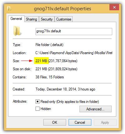 размер папки профиля Firefox