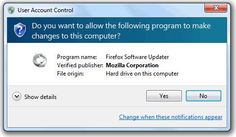 Контроль учетных записей пользователей Firefox