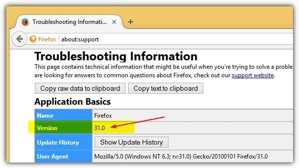 номер версии Firefox