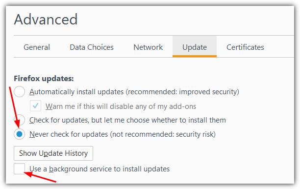 Firefox отключить автоматическое обновление