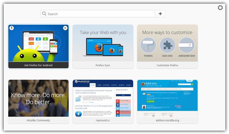 Firefox новая вкладка