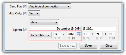 Изменить Firefox Cookie дату