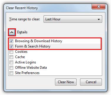 Firefox очистить недавнюю историю