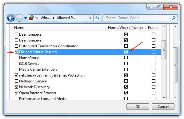 Исключить общий доступ к файлам и принтерам