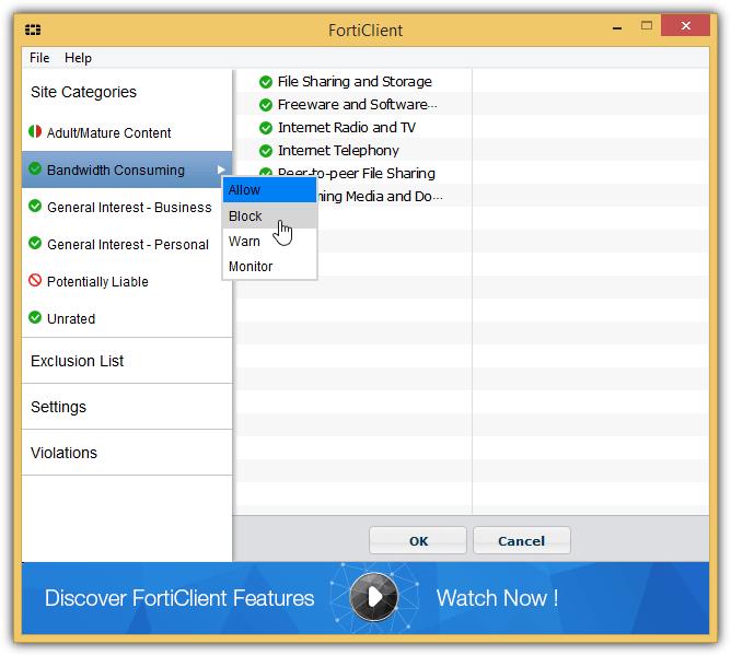 FortiClient-сайт-категории