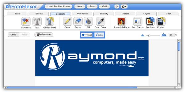 """piZap """"src ="""" https://img.raymond.cc/images/piZap.png """"/></p> <p>piZap работает на Flash и больше фокусируется на эффектах, но все же предоставляет базовые инструменты редактирования, такие как изменение размера, вращение и масштабирование. Эффекты, доступные на piZap, удивительны, особенно наклейки. Помимо онлайн-редактирования фотографий, вы можете легко создавать коллажи, обложки шкалы времени для Facebook и даже эффекты веб-камеры в реальном времени.</p> <p><strong>Посетите piZap</strong></p> <p>9. <strong>FotoFlexer</strong></p> <p><img width="""