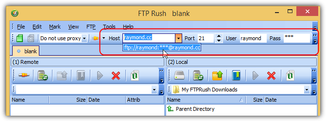 ftp Rush Quick Connect