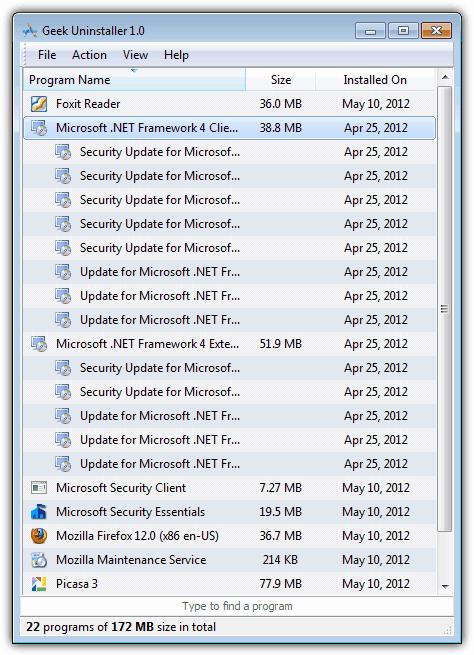 Удалить список программ в Geek Uninstaller