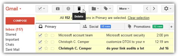 Gmail удалить все