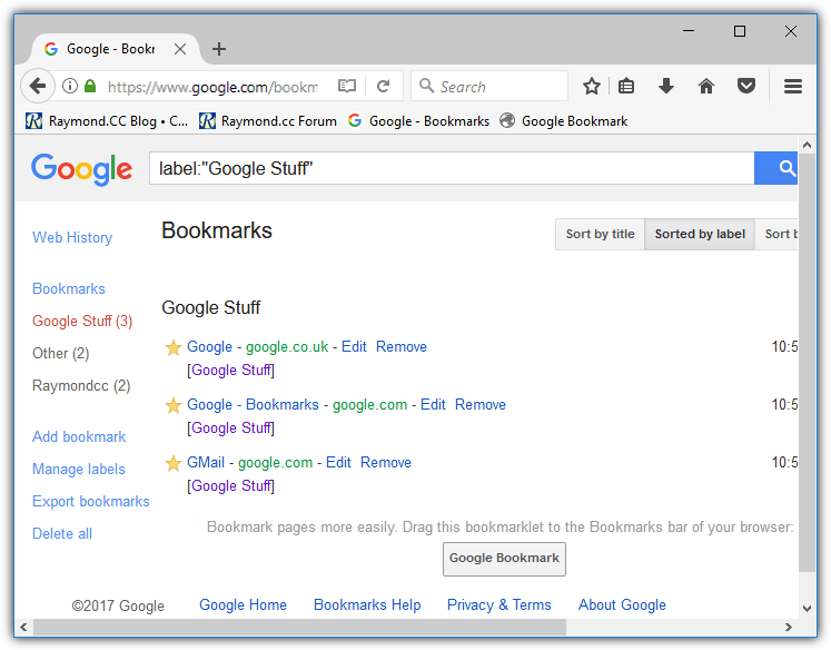 гугл закладки