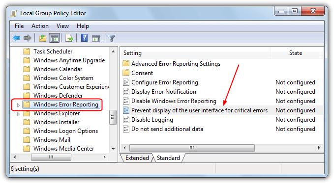 предотвратить сообщение об ошибке в gpedit