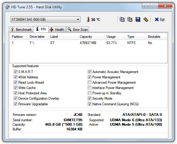 HDTune - информация о жестком диске