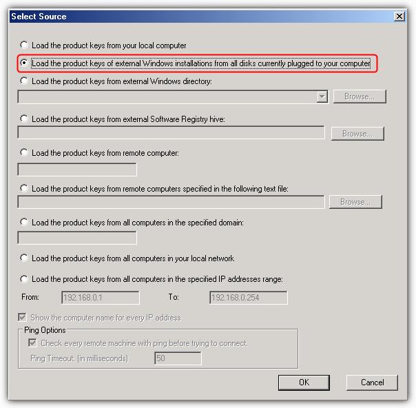 загрузить ключи продукта внешней Windows