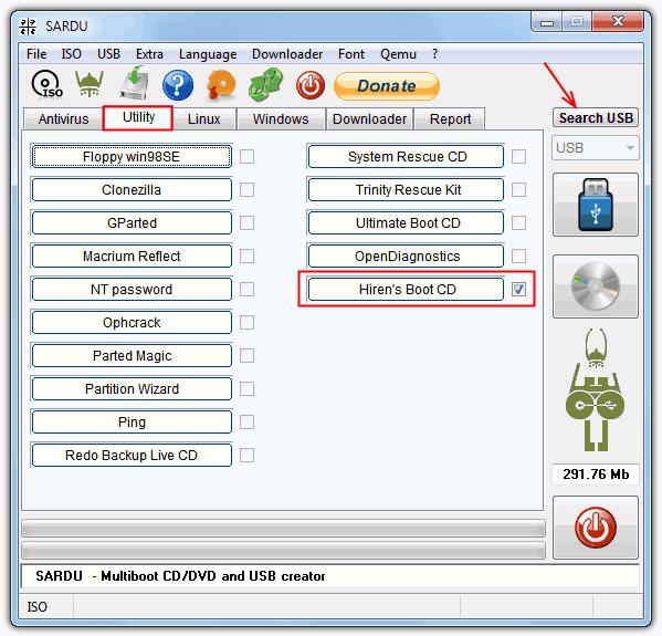 Использование SARDU для записи ISO на USB