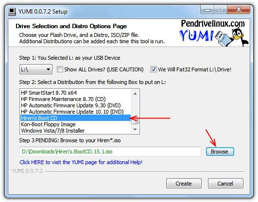 Создание USB Hiren с YUMI