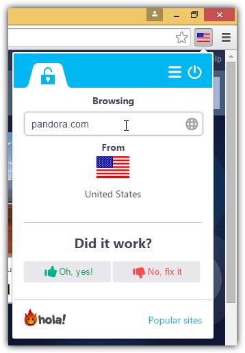 Привет доступ Пандора из Соединенных Штатов