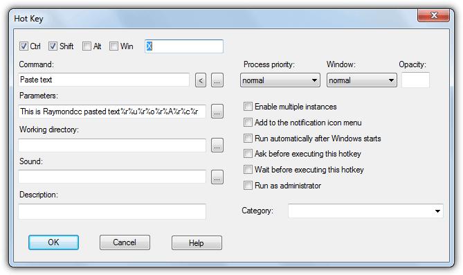 горячая клавиша вставить текстовую команду