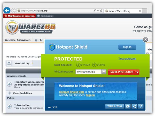 Hotspot Shield заблокировал доступ к сайту