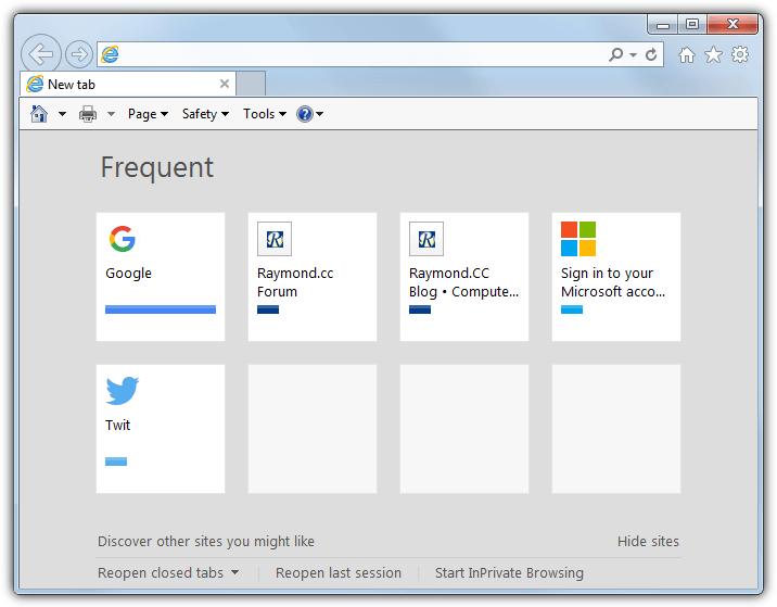 Internet Explorer новая вкладка