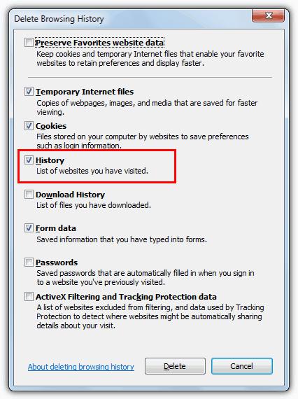 удалить историю поиска Internet Explorer