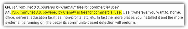 Immunet FAQ по коммерческому использованию