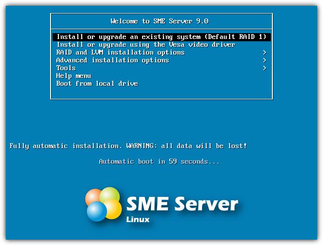 установить меню сервера sme