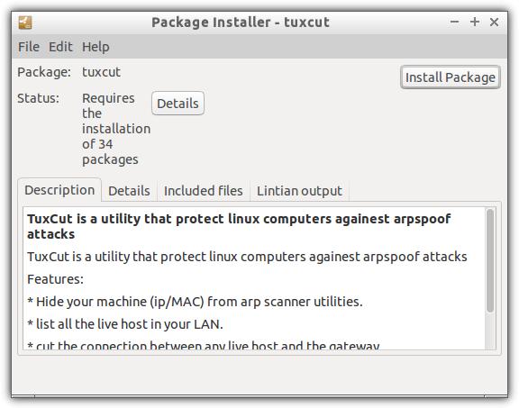 установить пакет tuxcut