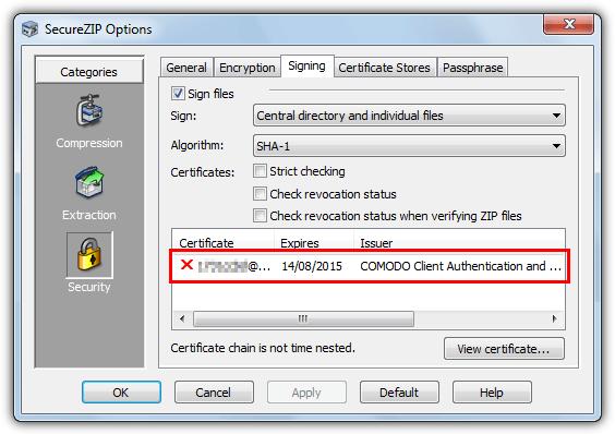 установлен SecureZip цифровой сертификат