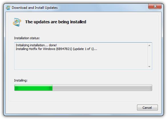 Установите обновление kb947821