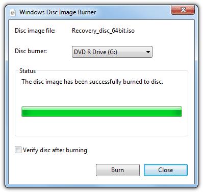 Windows 7 записывает ISO