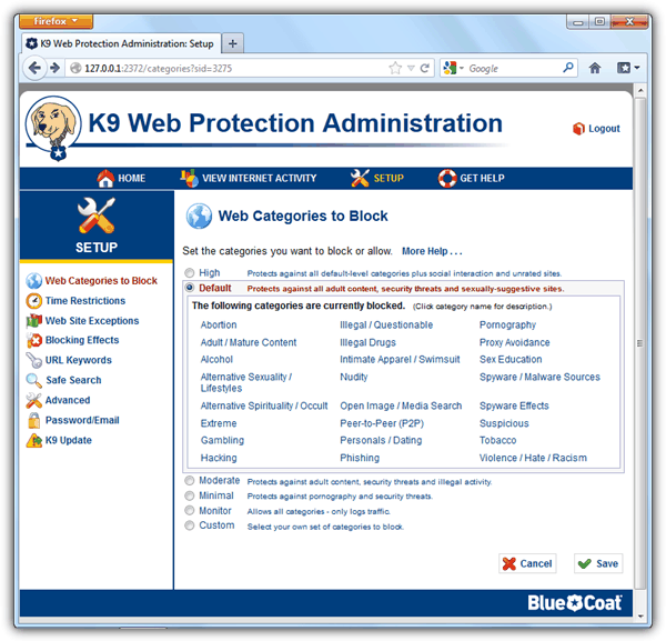 K9 Администрирование Web Protection
