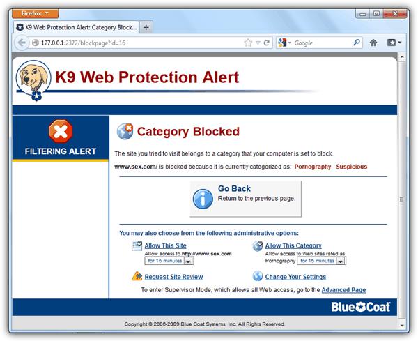 K9 Предупреждение о веб-защите